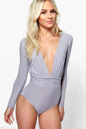 Petite Sally Plunge Slinky Long Sleeve Body