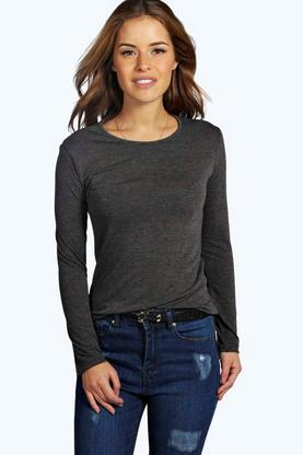 Petite Laura Long Sleeve Basic Jersey Top