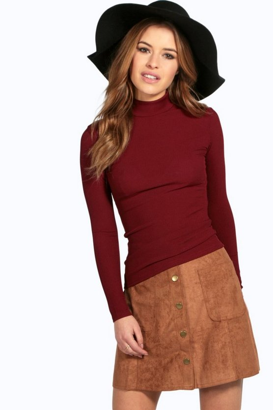 Petite Tanya Long Sleeve Rib Turtle Neck Top