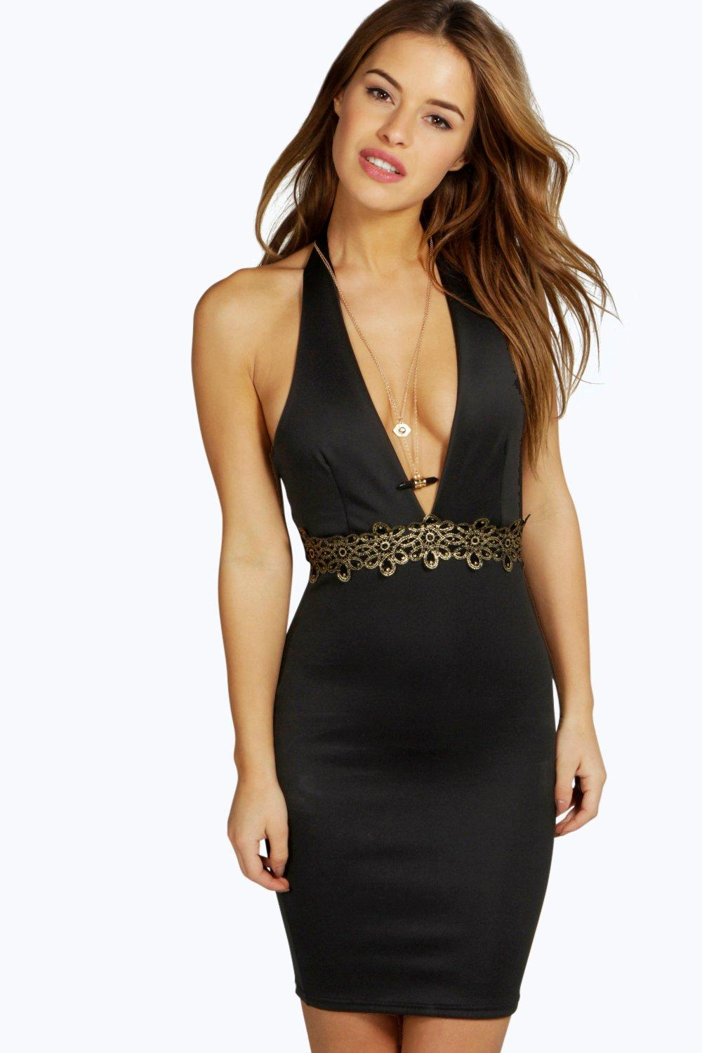 Petite Aoife Deep Plunge Halter Neck Bodycon Dress