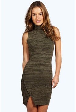 Petite Rebecca Turtle Neck Asymmetric Dress