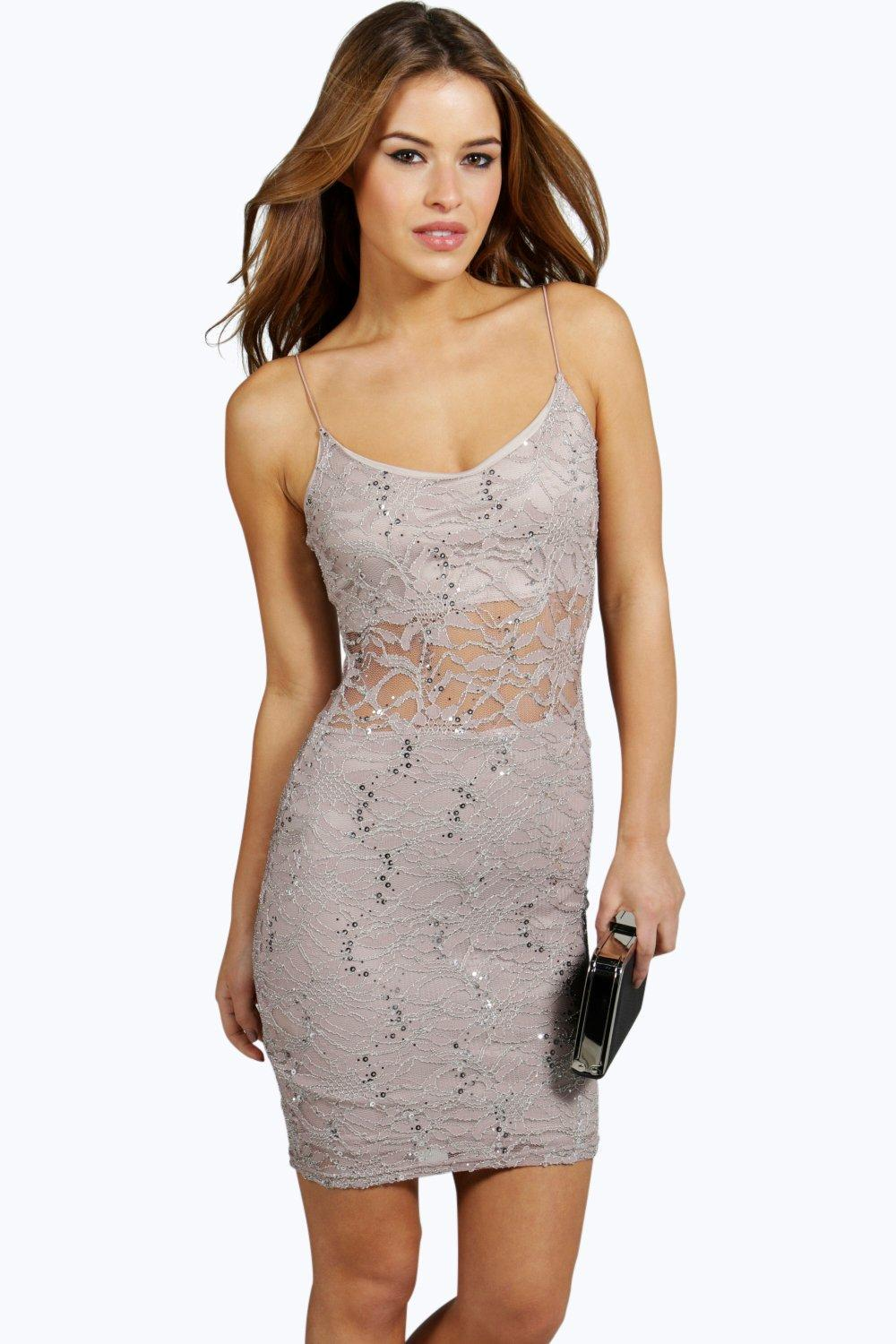 Petite Danielle Sequin Detail Lace Panel Bodycon