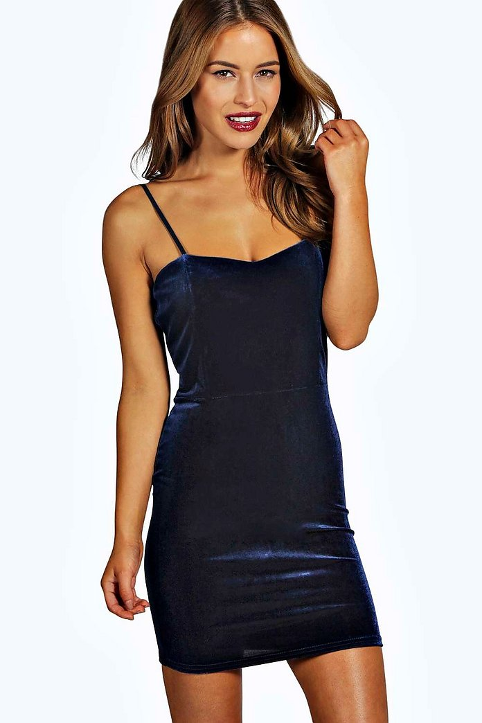 Petite Melissa Velvet Spaghetti Strap Bodycon Dress