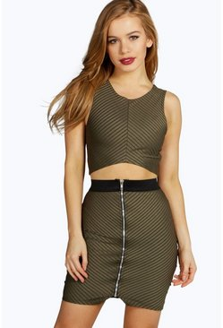 Petite Sophie Rib Crop And Skirt Co-ord