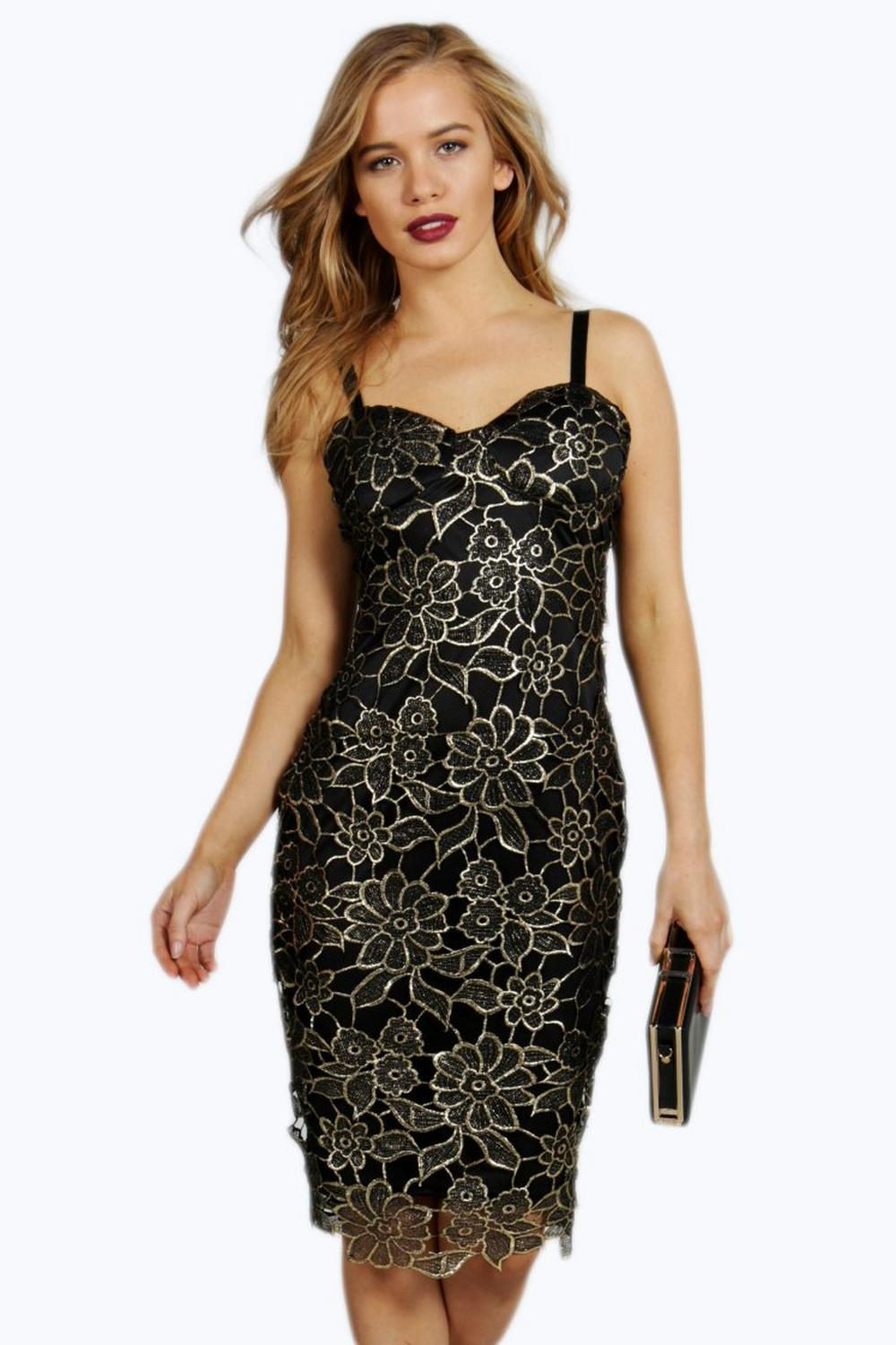 Petite Ruby Metallic Corded Lace Midi Dress