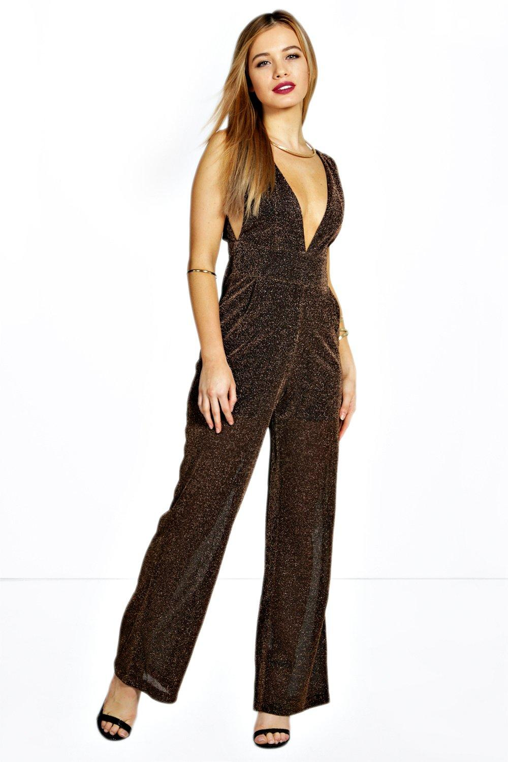 Petite Shelley Deep Plunge Wide Leg Jumpsuit