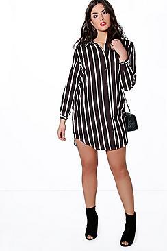 Plus Lola Striped Woven Shirt Dress