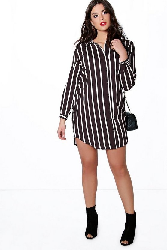Plus Lola Striped Woven Shirt Dress