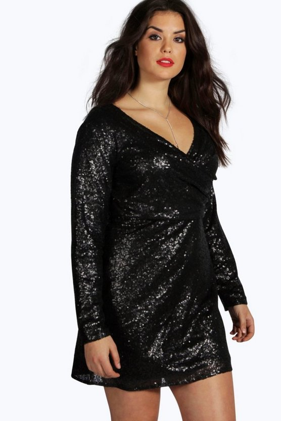Plus Julia Sequin Wrap Front Dress