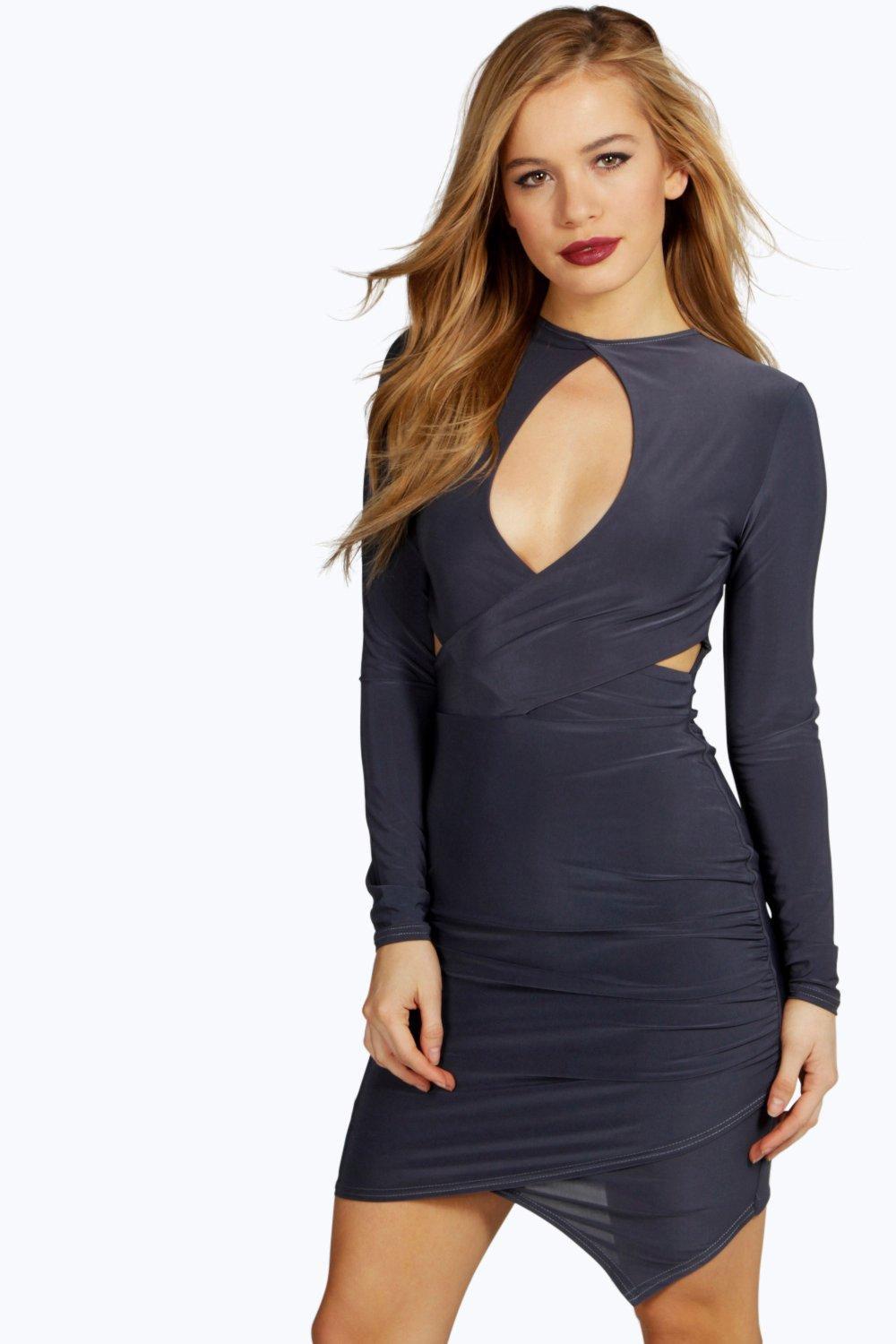 Petite Mona Wrap Front Keyhole Detail Dress