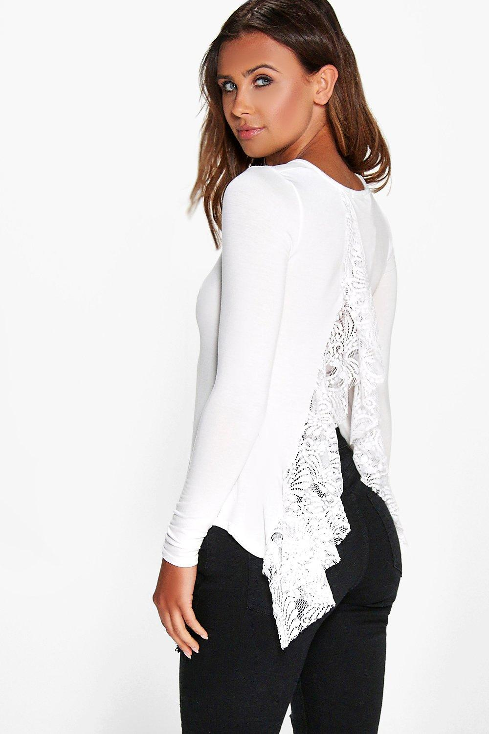 Petite Collette Lace Detail Open Back Top