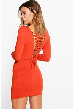 Petite Cara Lace Up Back Detail Bodycon Dress