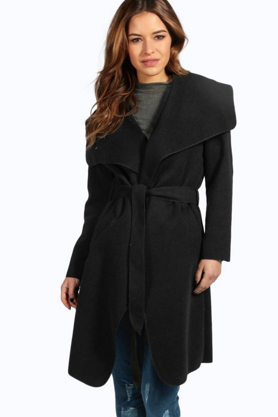 Petite Sinead Belted Shawl Collar Coat