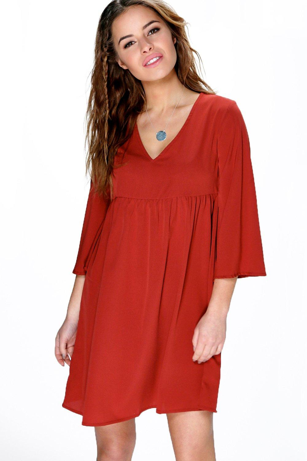 Petite Lola V Neck Flared Sleeve Smock Dress