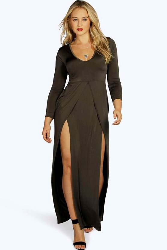Plus Esme Slinky Plunge Front Slit Maxi Dress