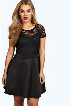 Plus Eliza Lace Panel Skater Dress