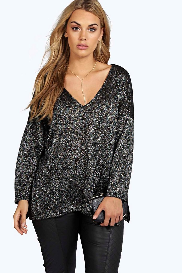 Plus Nina V Neck Split Side Glitter Jumper