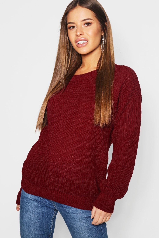 Womens Petite Oversized Pullover - beerenrot - 30, Beerenrot - Boohoo.com
