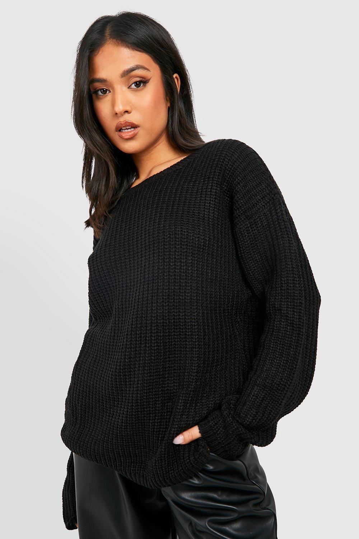 Womens Petite Oversized Pullover - schwarz - 32, Schwarz - Boohoo.com