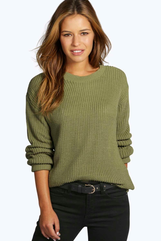 Womens Petite Oversized Pullover - khaki - 32, Khaki - Boohoo.com