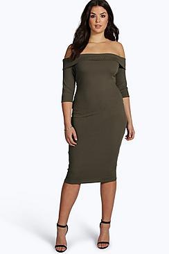 Plus Polly Rib Bardot Midi Dress
