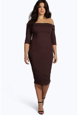 Plus Polly Rib Bardot Midi Dress