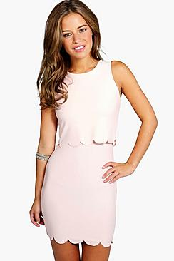 Petite Holly Double Layer Scallop Hem Dress