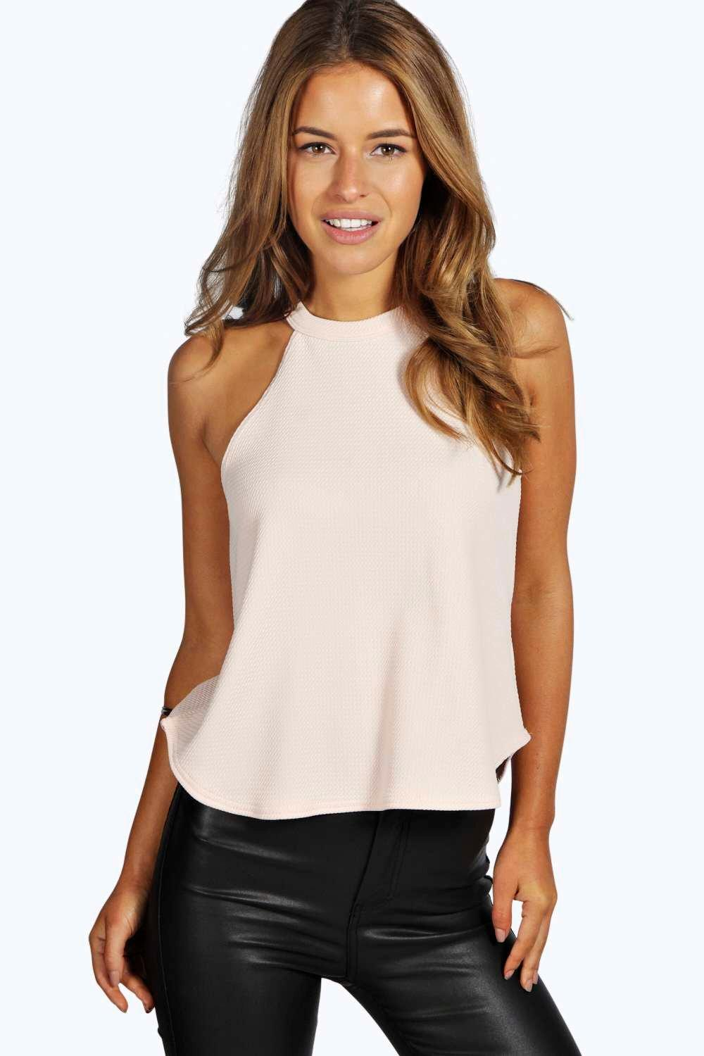 Eva High Neck Strap Top nude