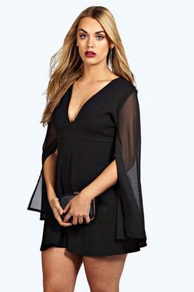 Plus Kim Chiffon Split Sleeve V Neck Dress