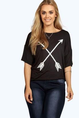 Plus Bonnie Arrow Detail Oversize Tee