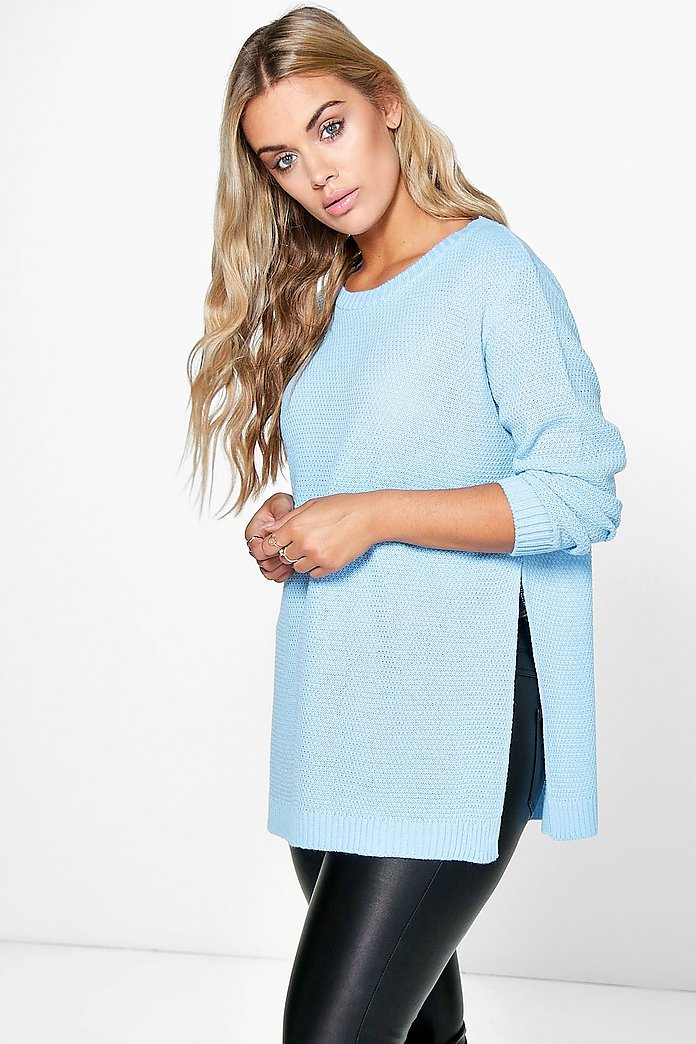 Plus Becca Side Split Moss Stitch Tunic Jumper