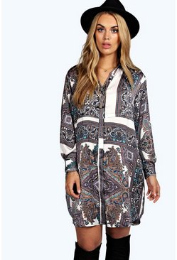 Plus Donna Paisley Shirt Dress
