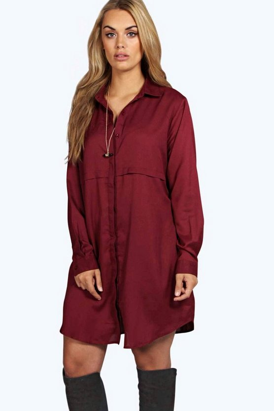 Plus Woven Shirt Dress