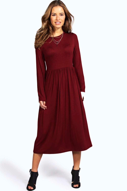 boohoo Petite Mia Long Sleeve Midi Dress - wine $26.00 AT vintagedancer.com