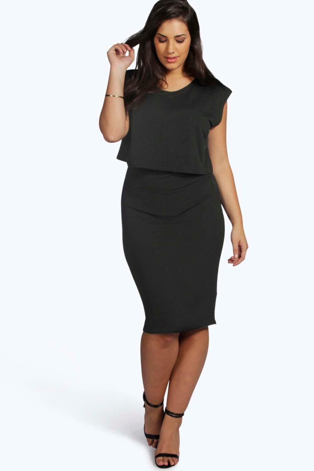 Plus Poppy Double Layer Midi Dress