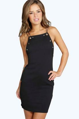 Petite Emma Eyelet Detail Bodycon Mini Dress
