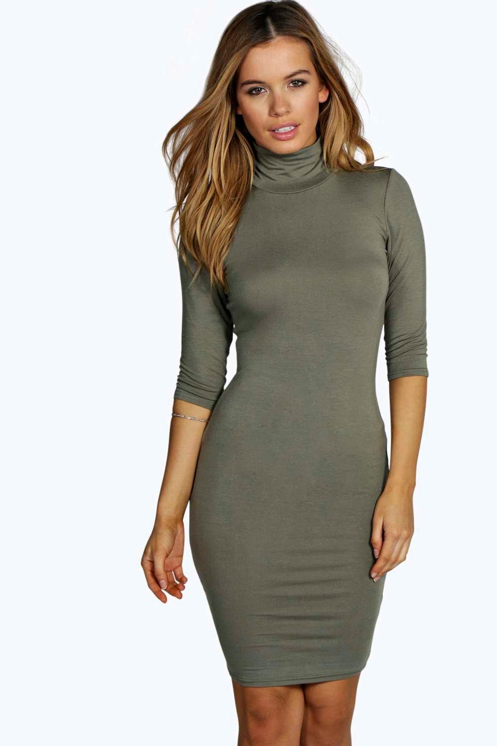 Petite Kayleigh High Neck 3/4 Bodycon Dress