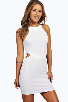 Petite Leanna Cut Out High Neck Bodycon Dress