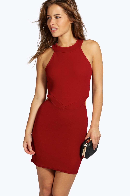 Leanna Cut Out High Neck Bodycon Dress - wine
