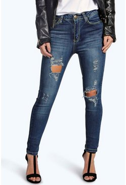 Petite Bethany Distressed Ripped Skinny Jeans