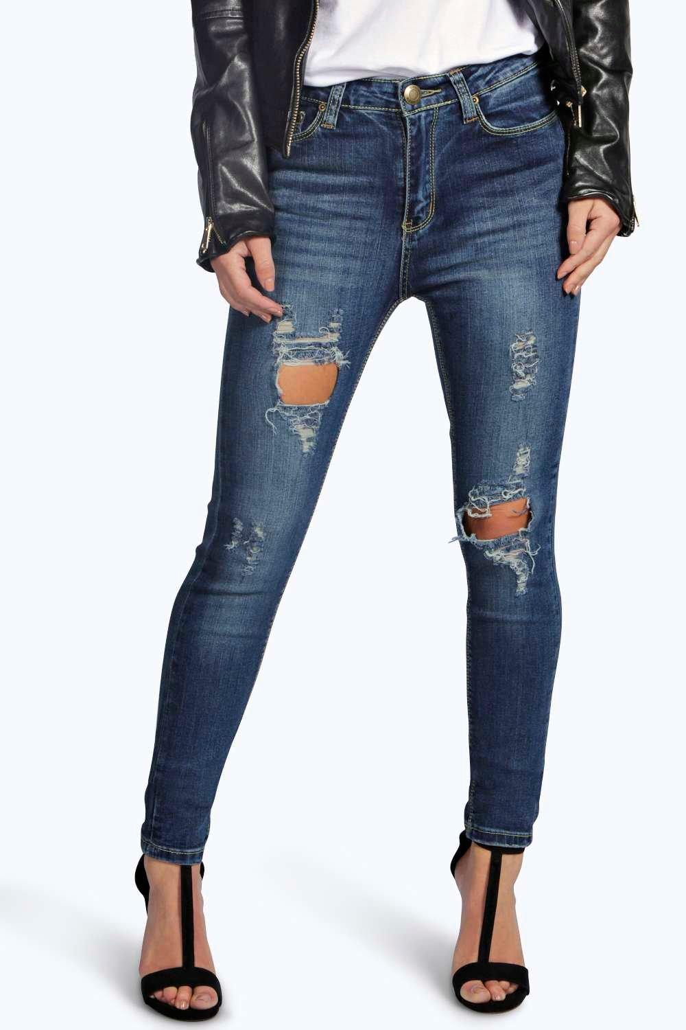 Petite Bethany Distressed Ripped Skinny Jeans | Boohoo