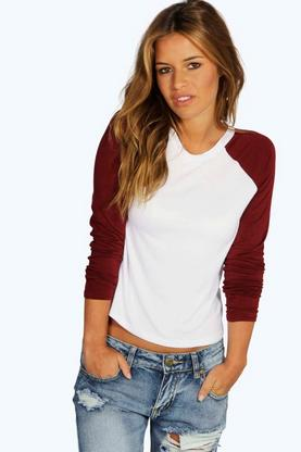 Petite Alisha Raglan Long Sleeve Top