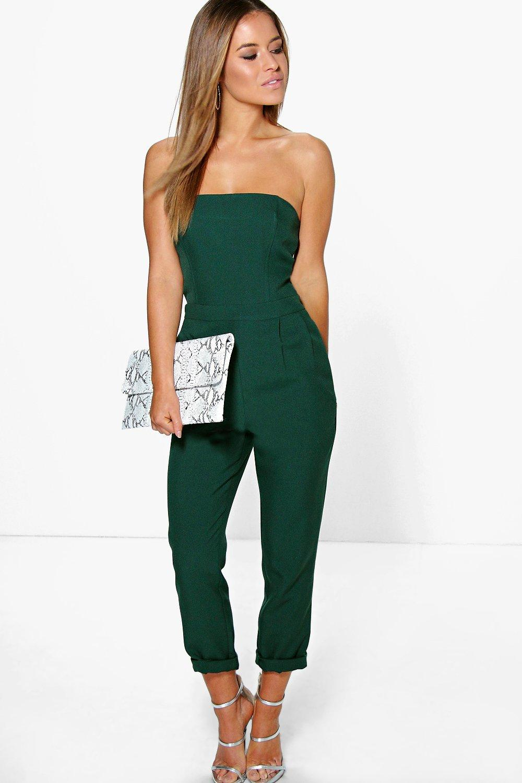 Boohoo Womens Petite Grace Bandeau Tailored Jumpsuit | EBay