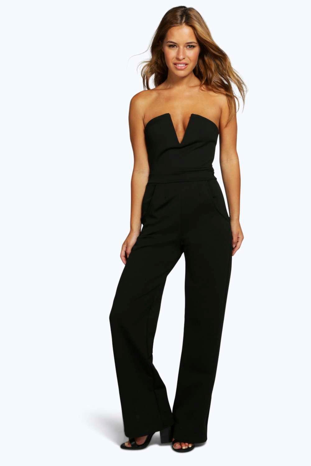 Petite Stacie V Bar Straight Leg Jumpsuit