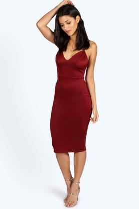 Petite Fiona Plunge Neck Bodycon Dress