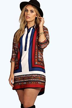 Plus Maddie Mix Stripe Button Through Shirt Dress