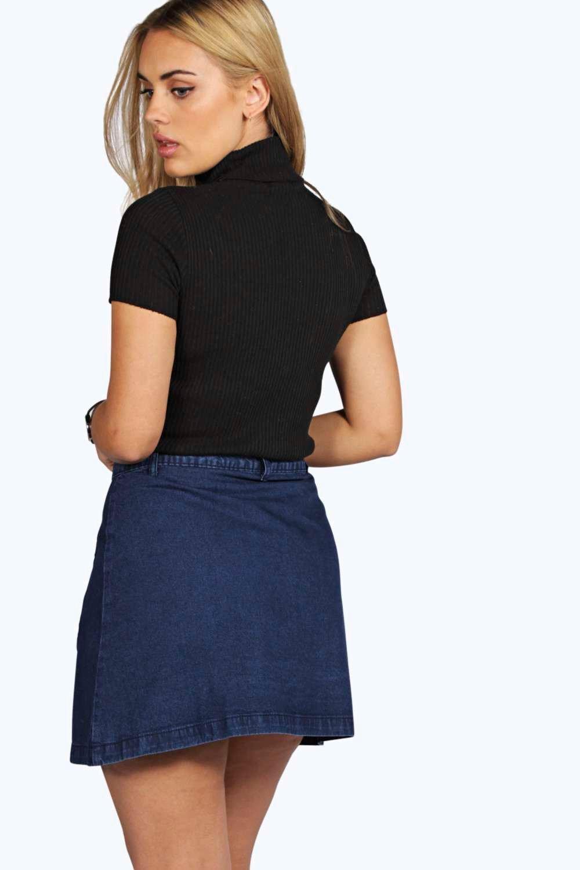 boohoo womens plus talia button through denim midi skirt
