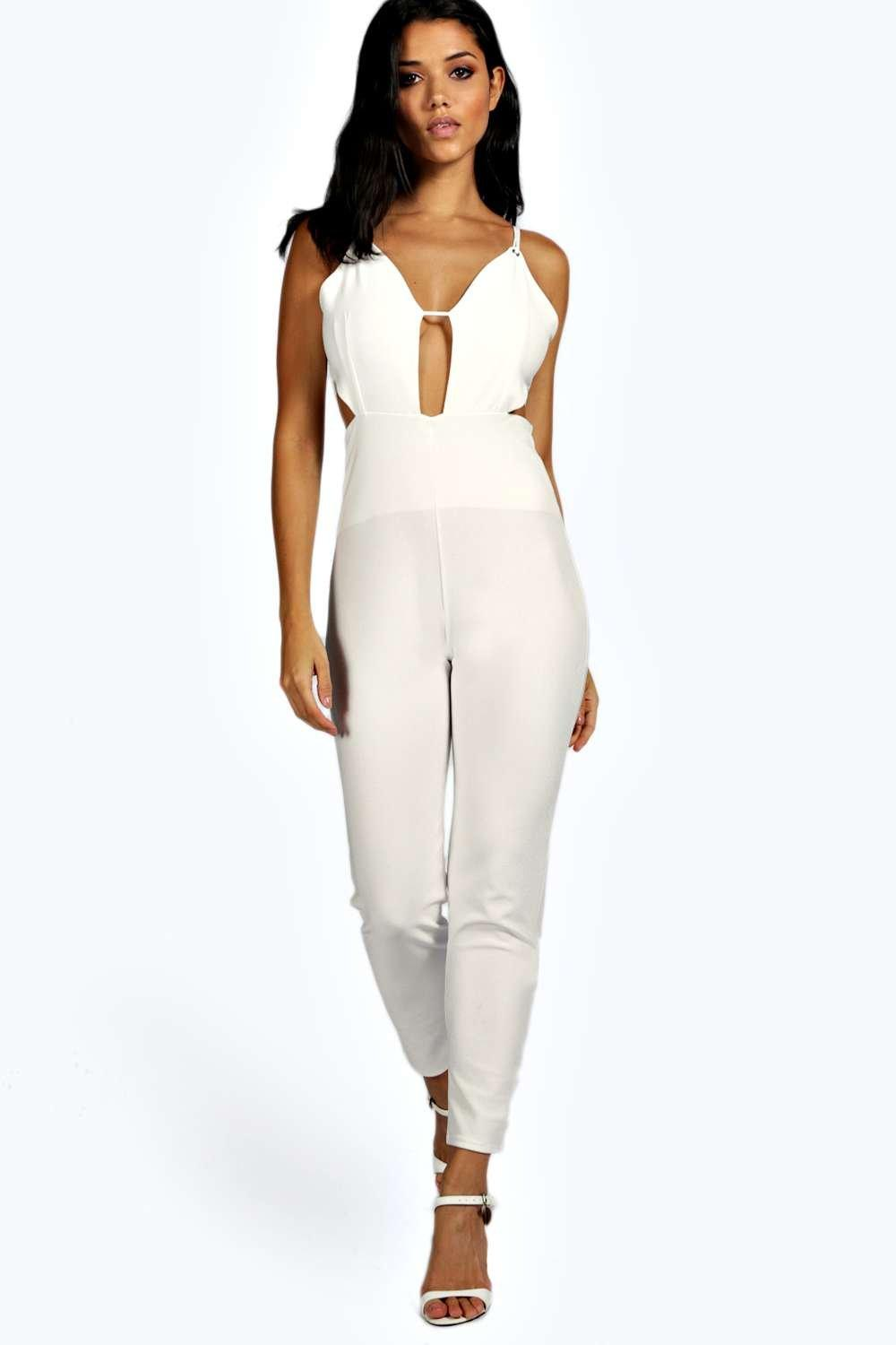 Petite Sarah Plunge Neck Cut Out Jumpsuit