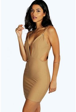 Petite Violet Plunge Neck Cut Out Bodycon Dress