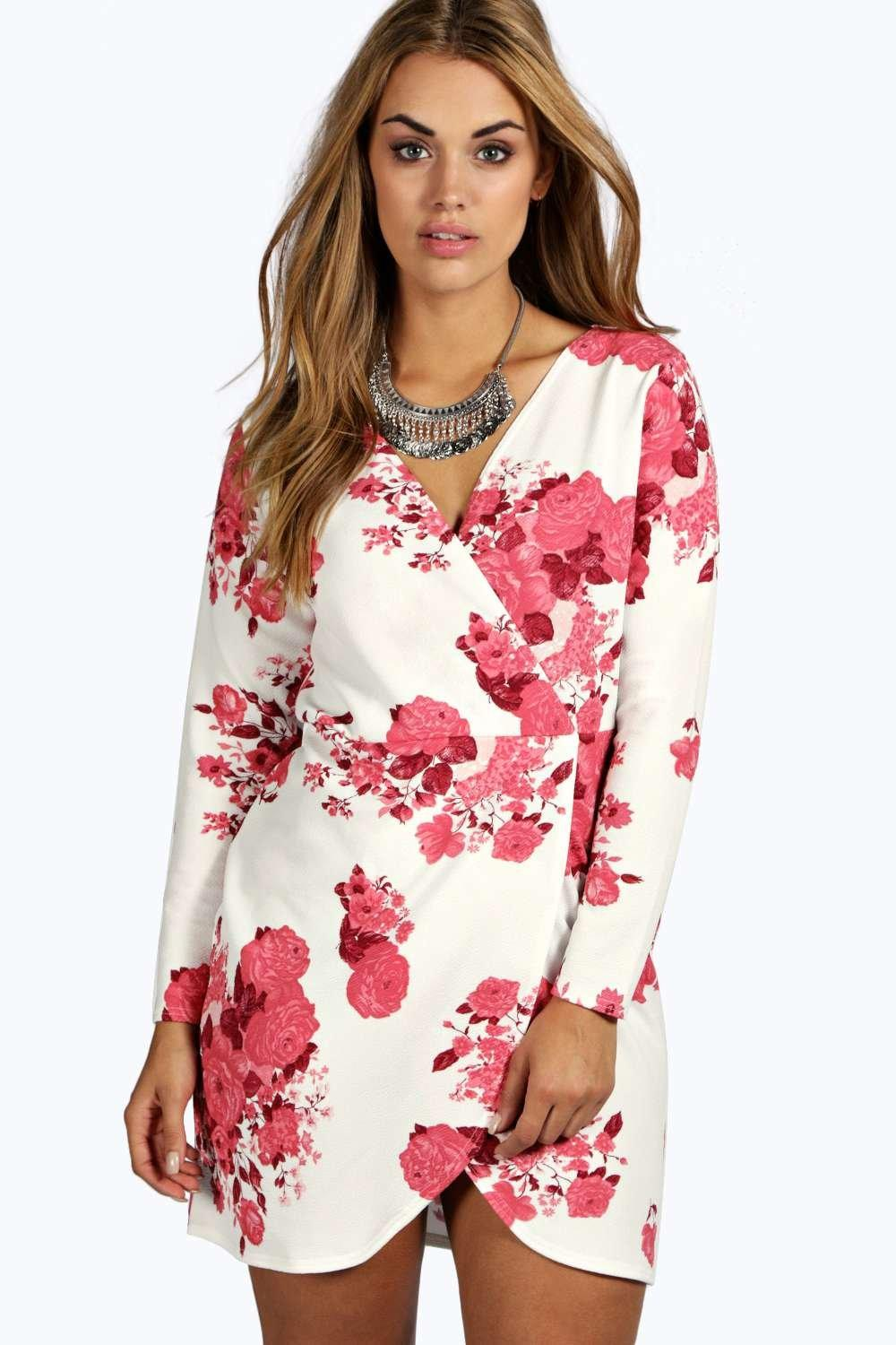 Plus Lottie Printed Wrap Front Dress